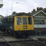 Date - 02/1979. Driffield. Photo Ref 117.A Metro Cammel 101 heads for Scarborough past the tiny signalbox, now long gone. ©  Alan Lewis