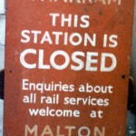 Date - 1990. Wharram. Photo Ref 154.This wooden closure notice was found in the basement of the old water tower at Wharram, along with a similar one from North Grimston station. ©  Alan Lewis