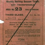Date - 1936. Ticket. Photo Ref 90.LNER Holiday season ticket front©  Alan Lewis