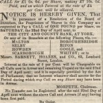 Date - 08/04/1848. Newspaper Article. Photo Ref 362.Advertisement offering shares in the railway©  Unknown - Thanks to A Barwick for supplying
