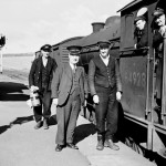 Date - 25/09/1958. Sledmere and Fimber. Photo Ref 399.Station Master Charles Russell (in peaked cap) and porter signalman Alan Birdsall (left), with train guard, fireman and driver. Loco is J39 0-6-0 No 64928 (based at Malton shed (50F)).  ©  A M Ross