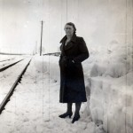 Date - 1938-39. Wetwang. Photo Ref 227.Gertrude Dixon standing in the snow©  John Lidster