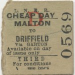 Date - Unknown. Ticket. Photo Ref 638.Malton to Driffield©  Mrs Wray