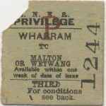 Date - Unknown. Ticket. Photo Ref 640.Wharram to Malton or Wetwang©  Mrs Wray