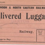Date - Unknown. Ticket. Photo Ref 644.Delivered luggage stamp from Garton©  Mrs Wray