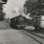 Date - Unknown. Settrington. Photo Ref 586.A lovely photo of possibly the worlds shortest goods train! The engine and brake van makes its way into Settrington station over the road©  Mrs Wray